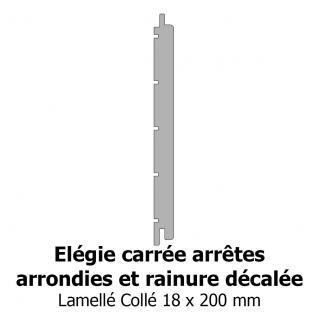 Elégie carrée arrêtes arrondies et rainure décalée 18x200