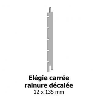 Elégie carrée rainure décalée 12x135
