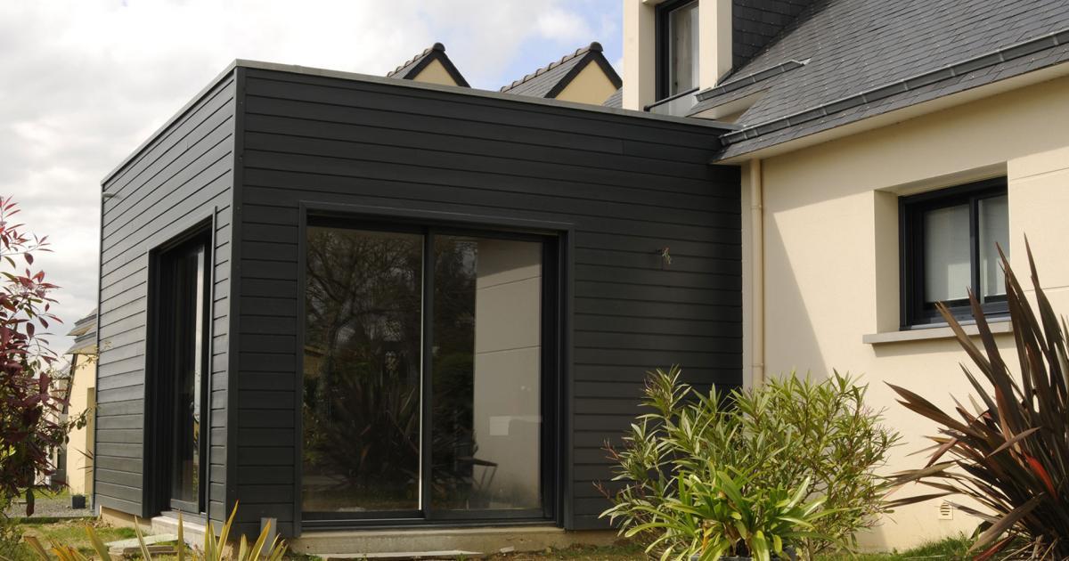 extension avec bardage bois sur une maison silverwood. Black Bedroom Furniture Sets. Home Design Ideas